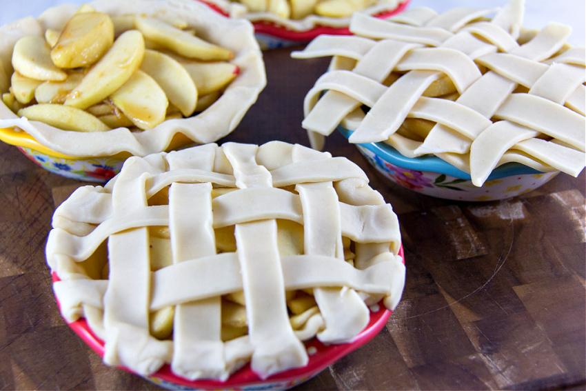 lattic top on mini apple pies