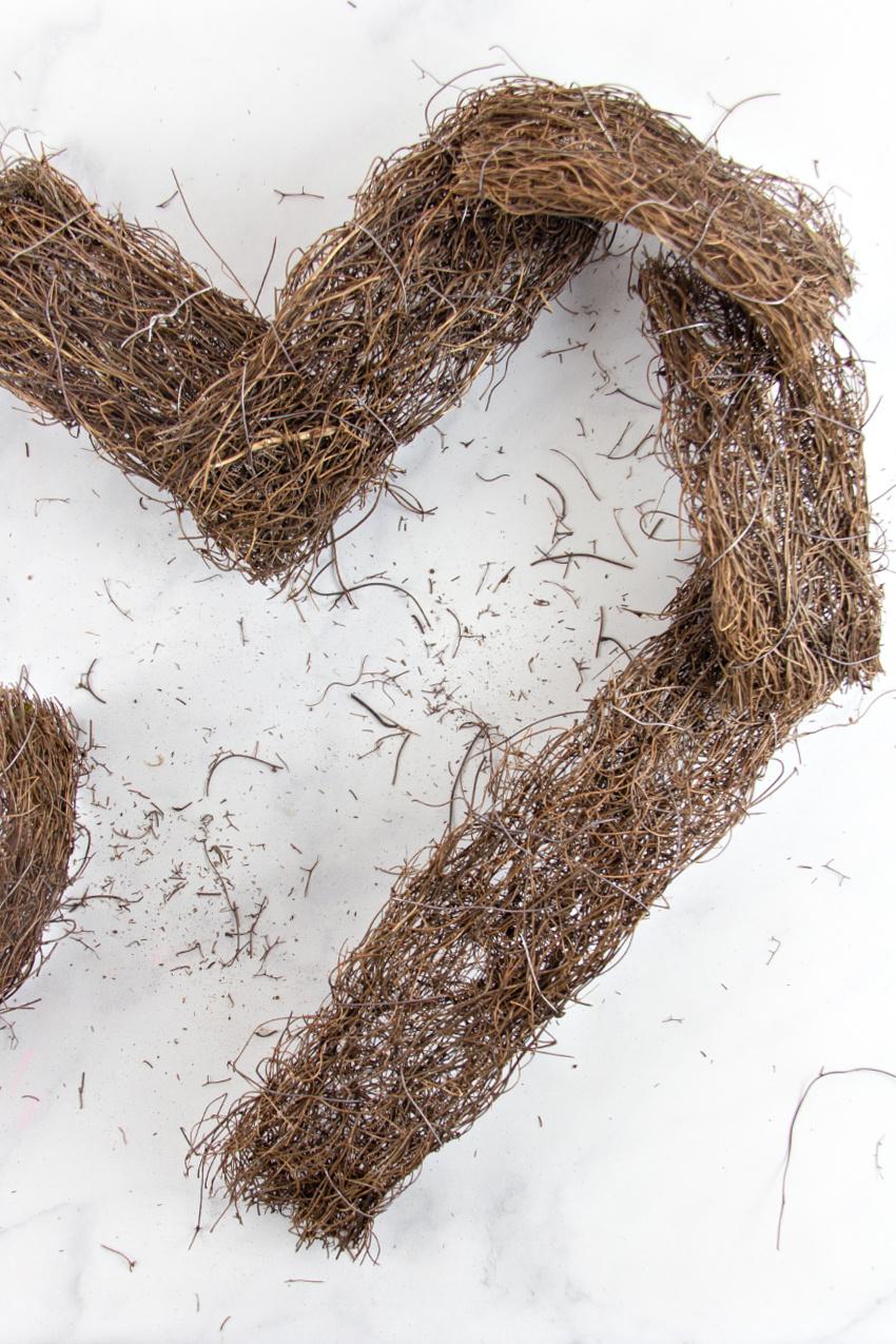 natural vine garland cut and shaped like a heart