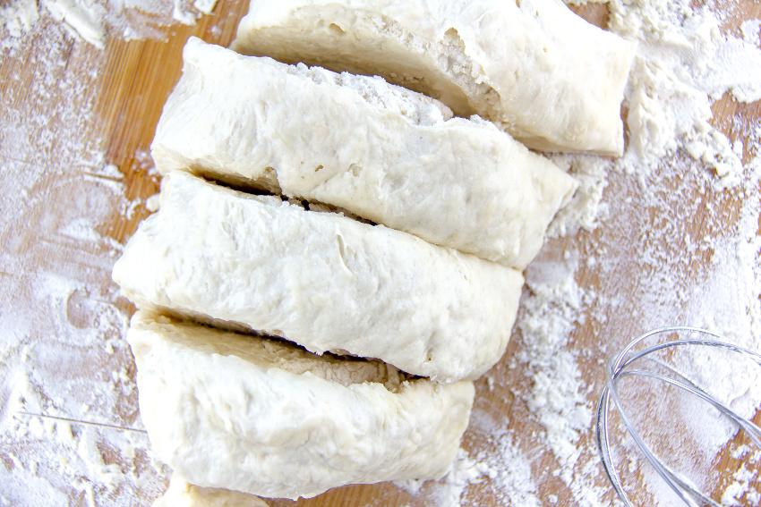 dough cut into slices