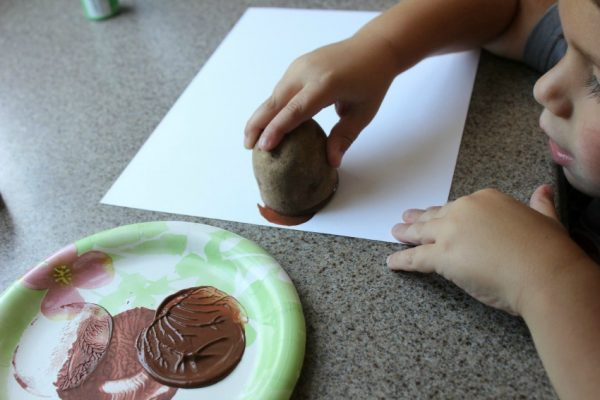 how to make potato print turkey craft with kids