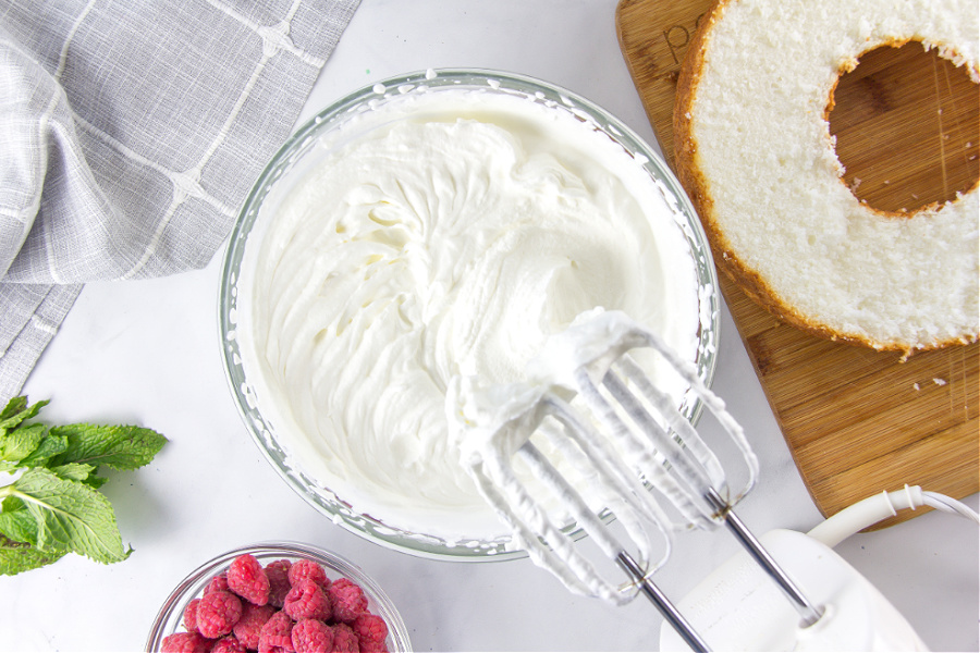 heavy whipping cream that has been whipped using beaters