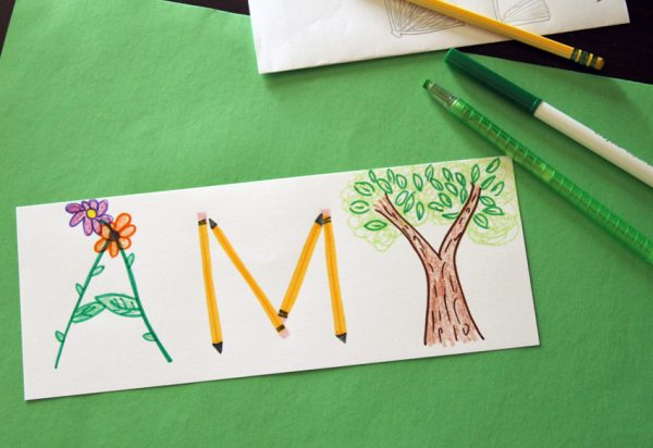 Drawing illustrated names with kids
