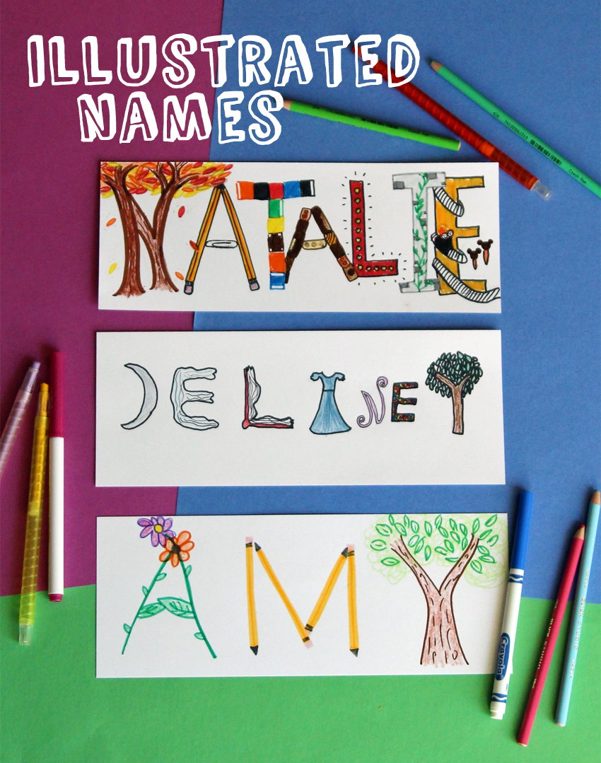 Drawing with Kids: Illustrated Names | Make and Takes