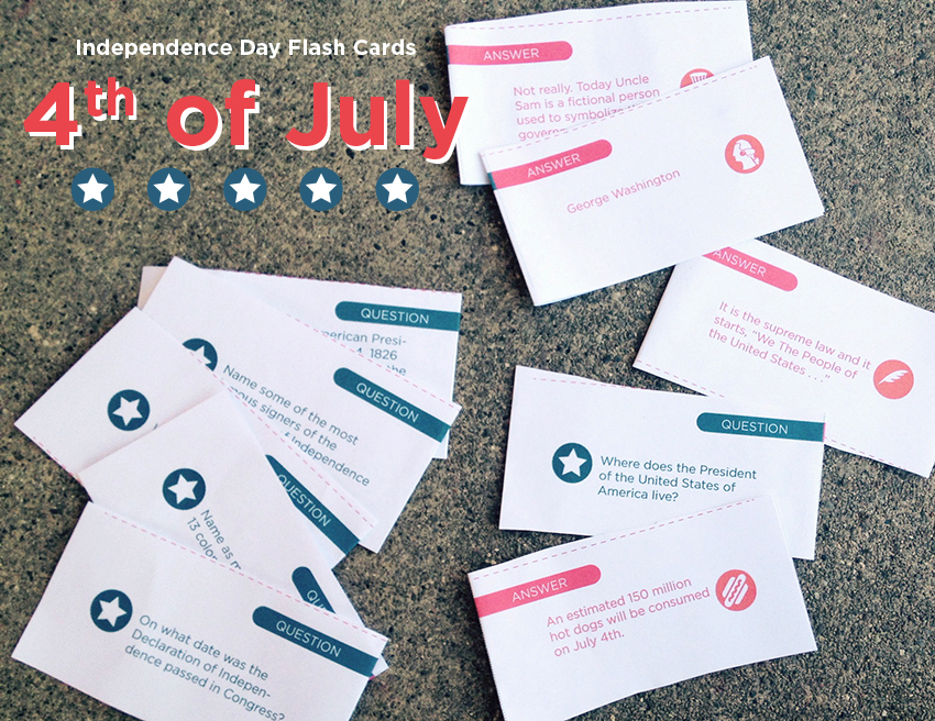 Independence day printable flash cards make and takes reheart Gallery