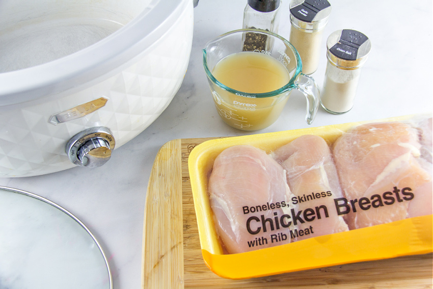 ingredients to make shredded chicken in the slow cooker