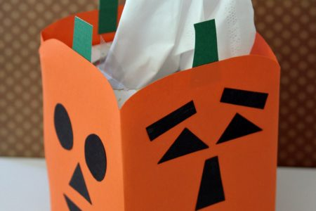 Jack-o'-lantern tissue box craft