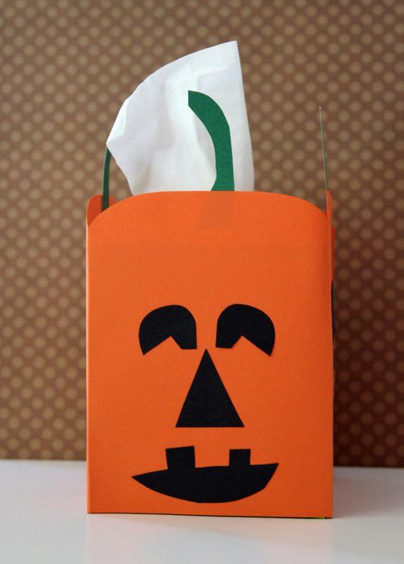 Halloween crafting with a jack-o'-lantern tissue box