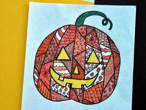 Zentangle Jack-o'-Lantern drawing project
