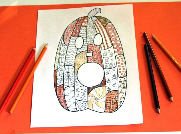 Colored pencil Jack-o'-lantern Zentangle