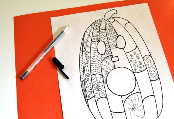Jack-o'-lantern Zentangle doodles
