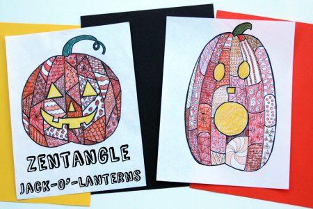 Halloween Zentangle Jack-o'Lantern project for kids and teens