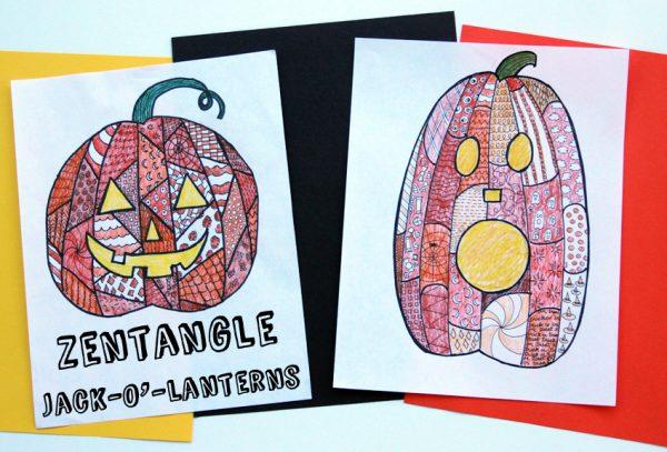 Coloring Zentangle Pumpkin Jack O Lanterns Make And Takes