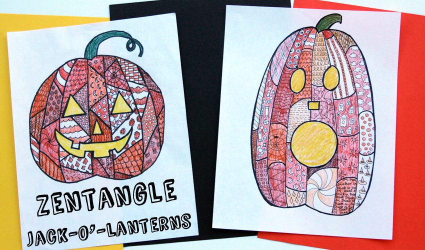 Halloween Zentangle Jack-o'Lantern project for kids and teens