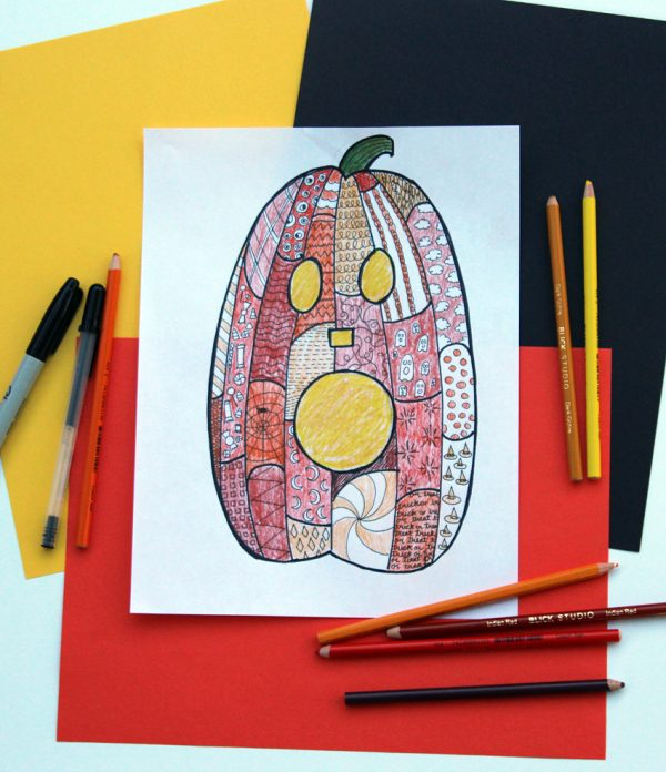 Jack-o'-lantern drawing project for kids