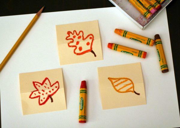 Oil pastel leaf drawings