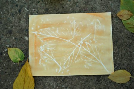 Crayon resist leaf rubbings