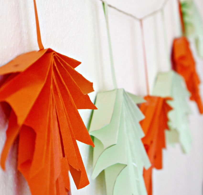Folded Paper Leaf Garland Make And Takes