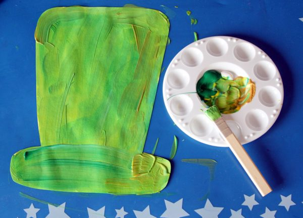 Painting leprechaun hats with color mixing