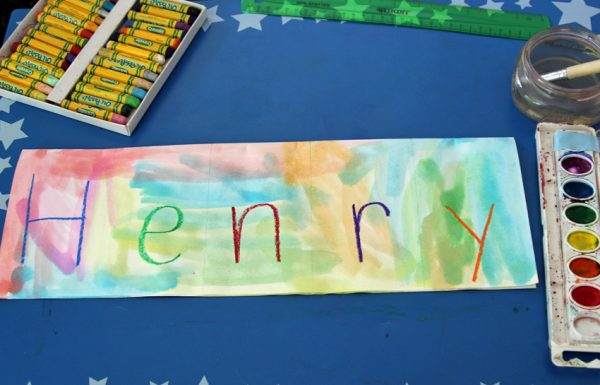 Painting over oil pastel name writing