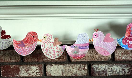 Valentine lovebird garland for kids