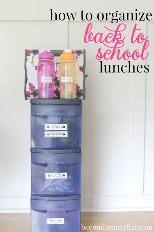 Back to School Lunch Organization