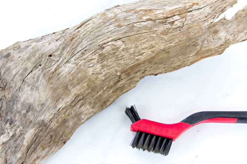driftwood and a wire brush