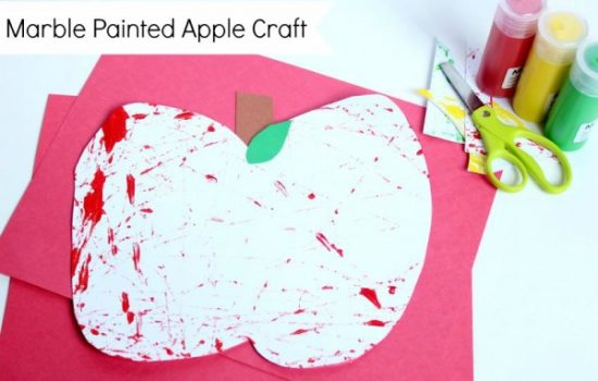 Marble Painted Apple Craft