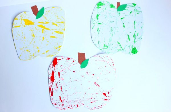 marble painting apple craft for kids