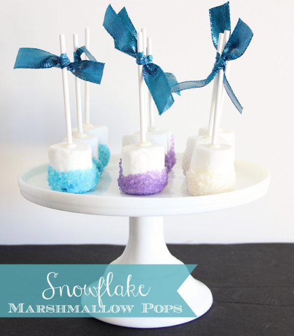 snowflake marshmallow pops