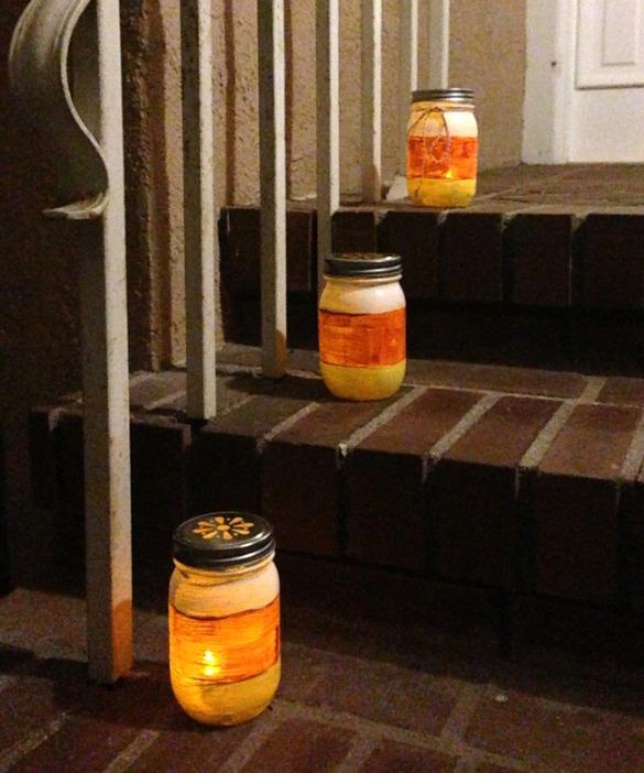 Mason Jar Luminaries Lit Up