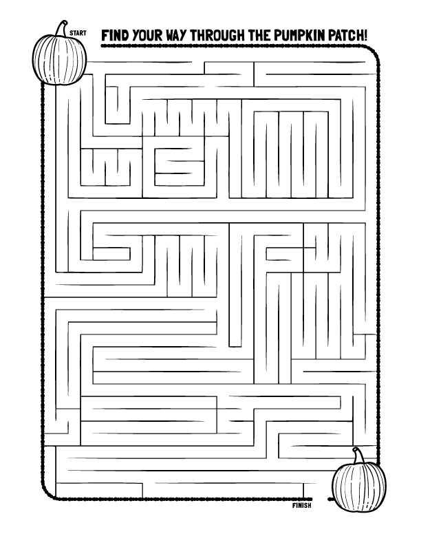 Pumpkin Maze Coloring Pages