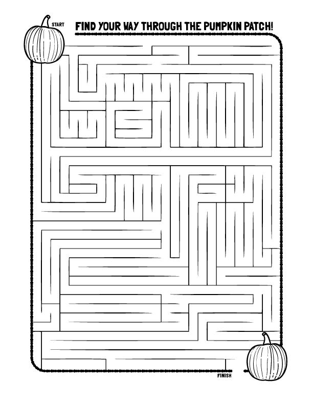 Pumpkin Maze Coloring Pages