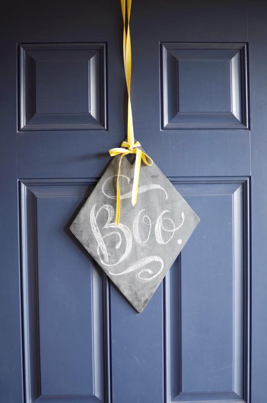 boo chalkboard wreath