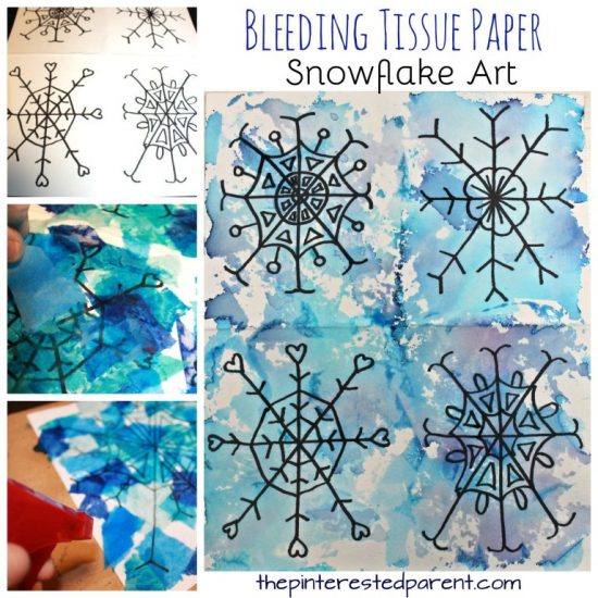 Bleeding Tissue Paper Snowflake Art