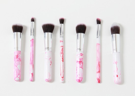 Marbleized Makeup Brushes