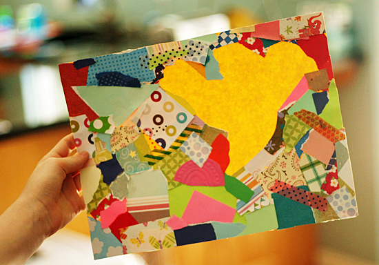 Negative shape collage project for kids