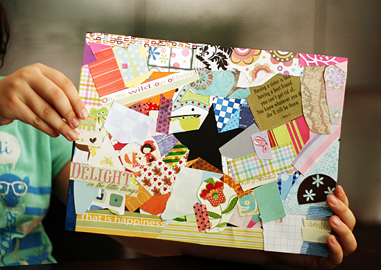 Make negative shape collages with kids