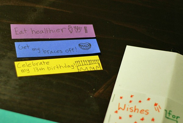 Writing New Year's wishes with kids