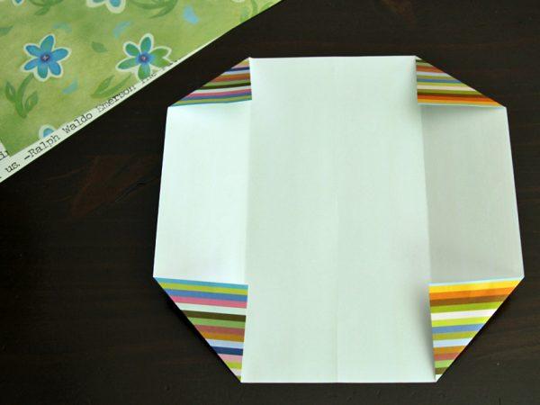 Origami gift card holders corner folds