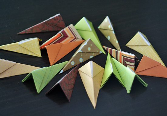 Origami starburst wreath pieces