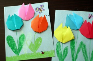Origami tulip art project