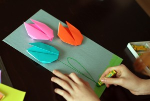 Spring drawing with origami tulips