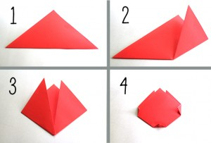 Steps for making an origami tulip