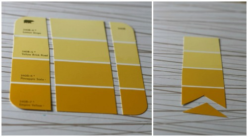 paint chip bookmark steps