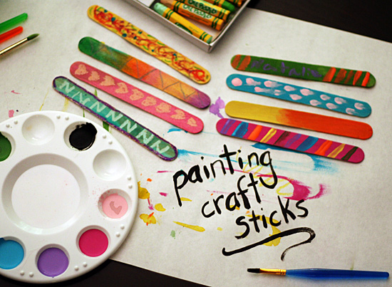 Painting craft sticks with kids