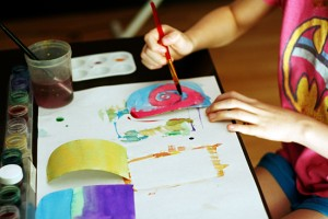 Painting popsicle shapes with watercolors