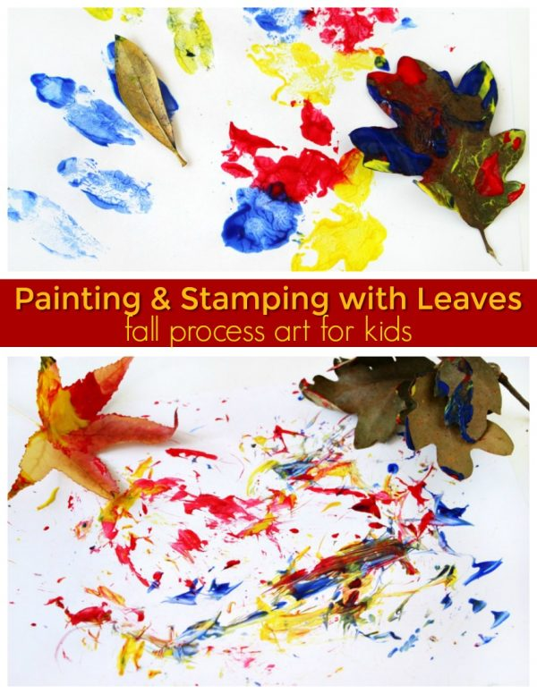 painting stamping fallen leaves