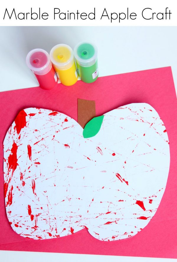Painting with marbles and an apple craft for kids