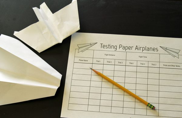 Paper airplane test flight recording sheet