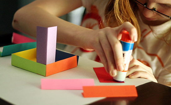 Paper cube sculpture for kids